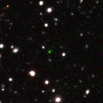 December 2016: CR7 is one of the brightest Lyman alpha emitting galaxy known to date. This is a z-NB921-y pseudo-color image and the galaxy' strong Lyman alpha emission falls in the NB921 filter, making the galaxy look green.