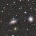 April 2020: an interacting galaxy pair (NGC5713 and NGC5719). There is a diffuse, long-extending stream around the galaxy on the left, which is counter-rotating with respect to the main disk of the galaxy.