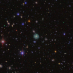 A unique component of HSC-SSP is a narrow-band survey of Deep and UltraDeep fields. A narrow-band filter is sensitive to emission lines at specific redshifts and it detected Halpha emission from the galaxy here located at z=0.24. The narrow-band image is in green and it nicely shows where the stars are being formed.